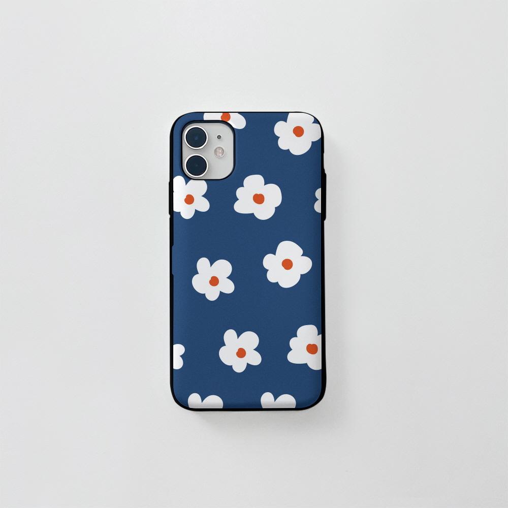 (카드) 동글 꽃 패턴 네이비