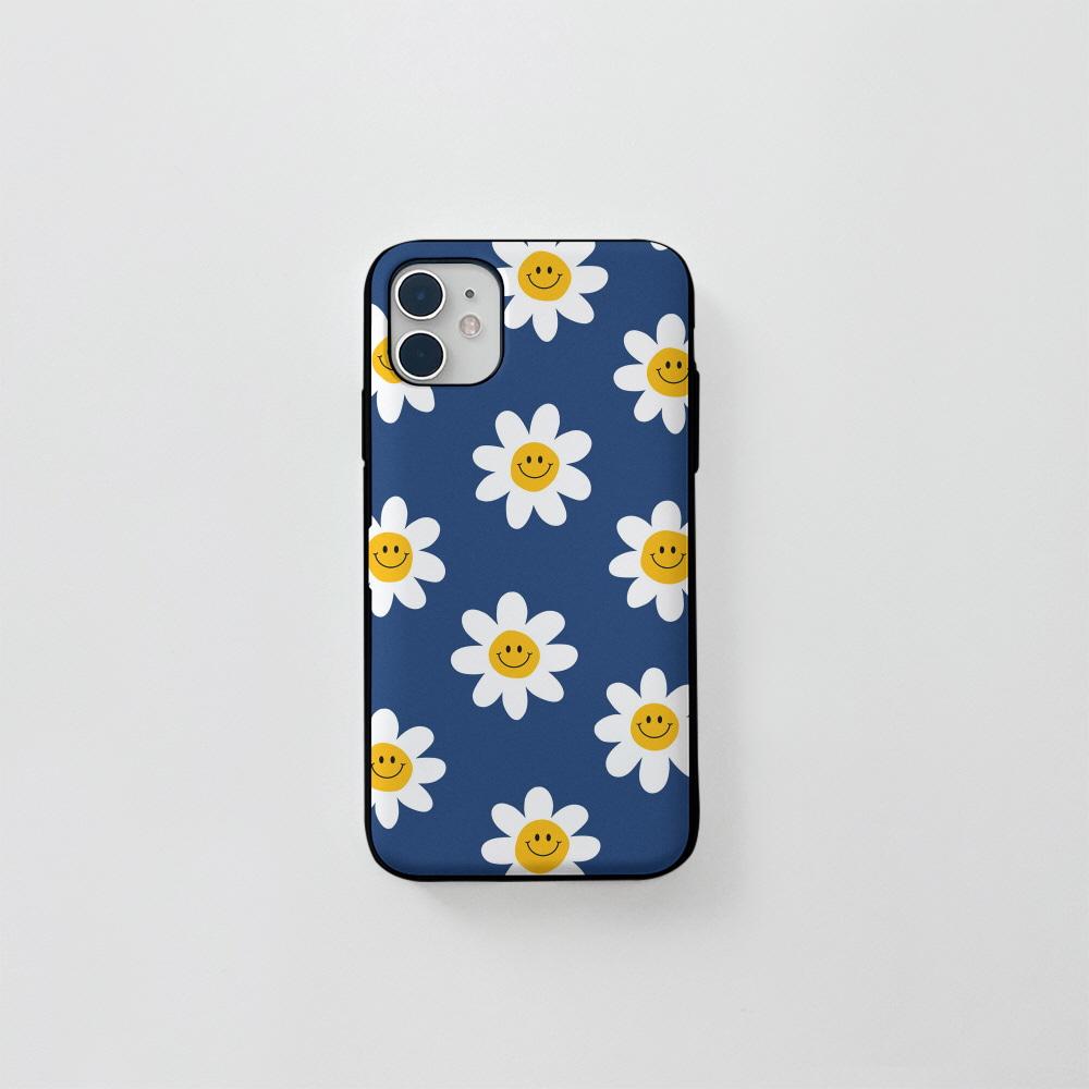 (카드) 스마일 꽃 패턴 블루