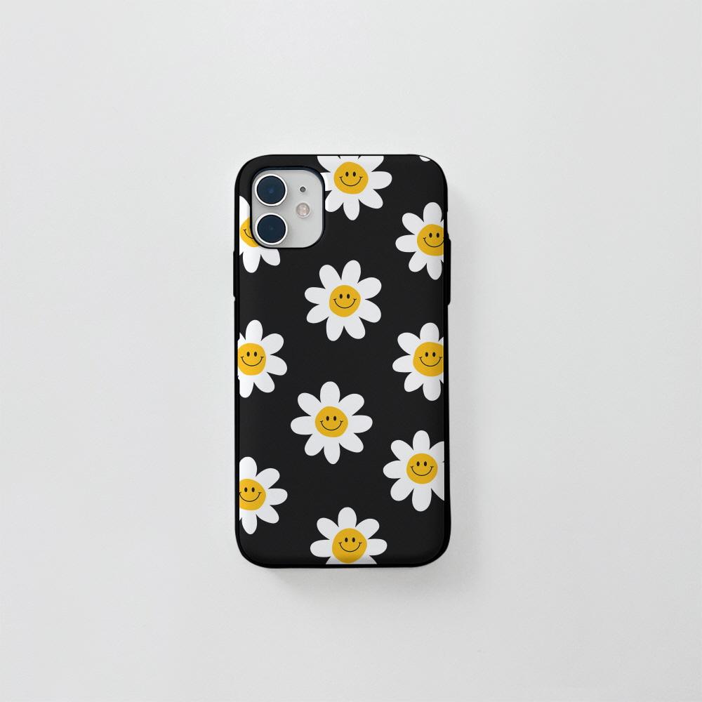 (카드) 스마일 꽃 패턴 블랙
