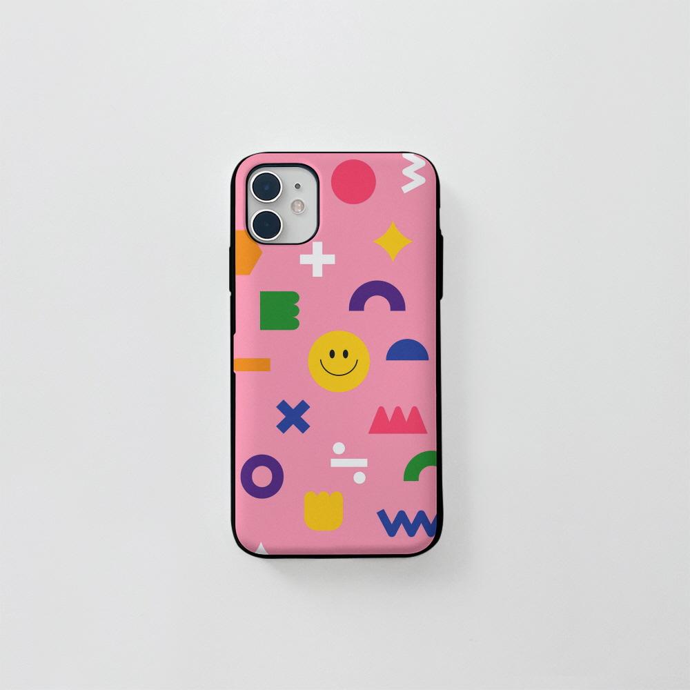 (카드) 스마일 도형 패턴 핑크