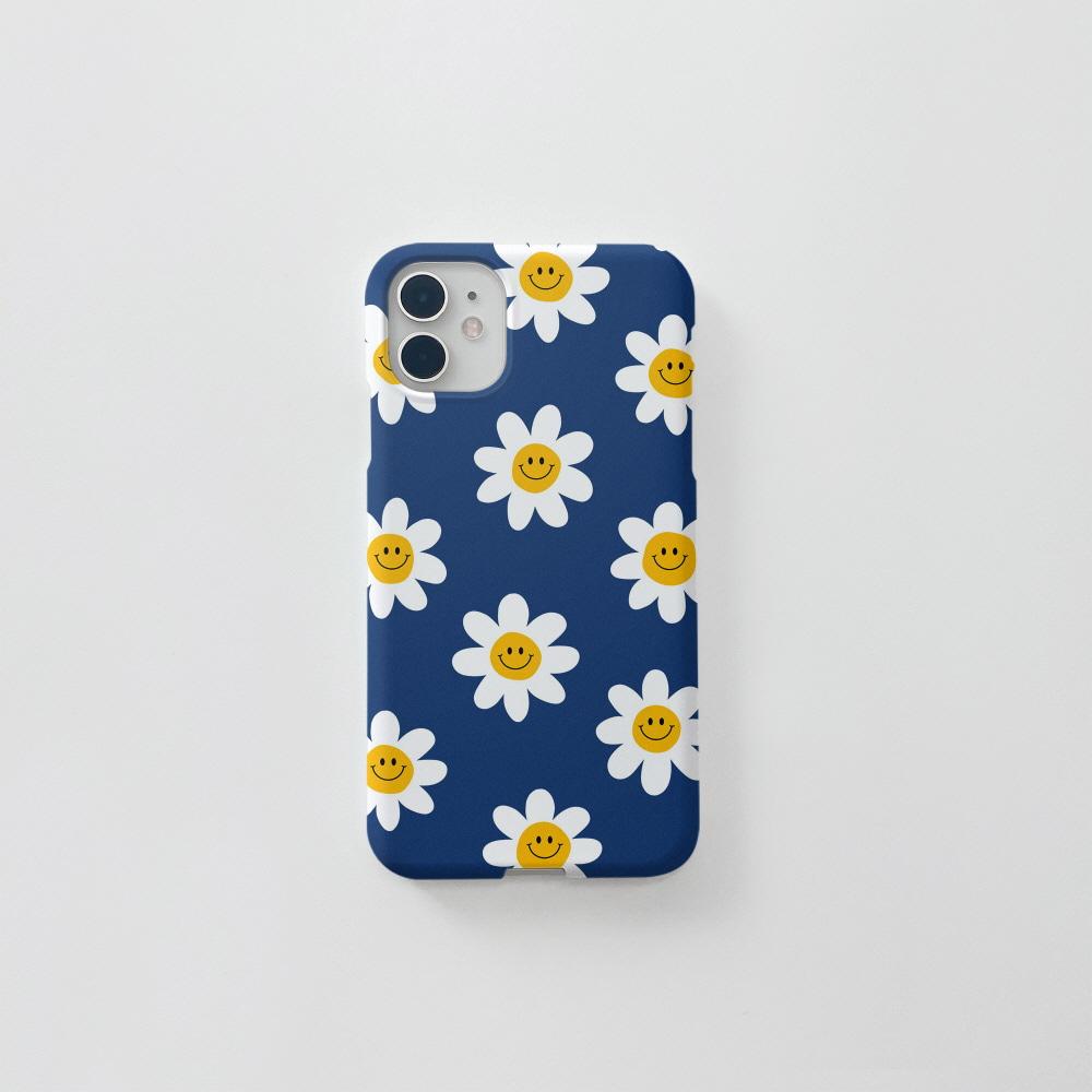 스마일 꽃 패턴 블루