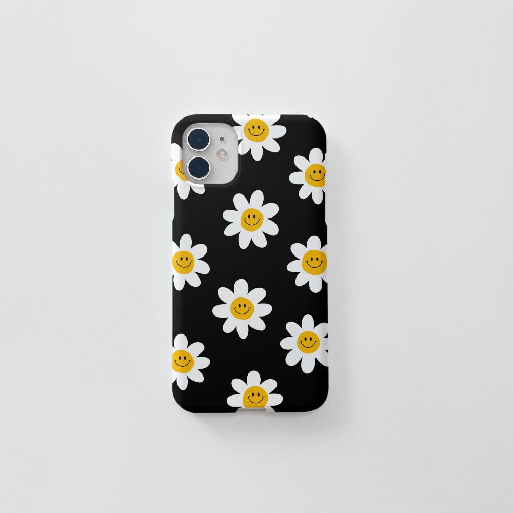스마일 꽃 패턴 블랙