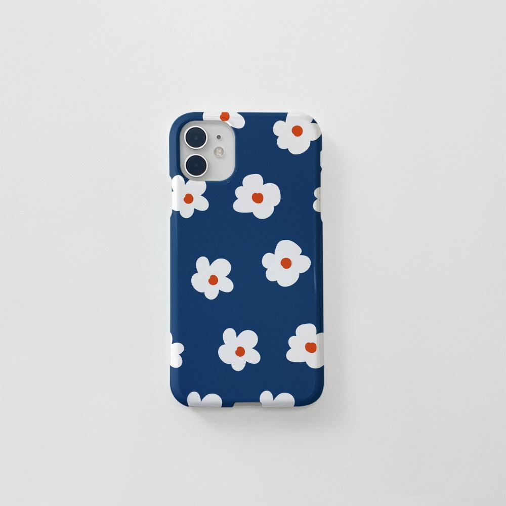 (골드펄) 동글 꽃 패턴 네이비