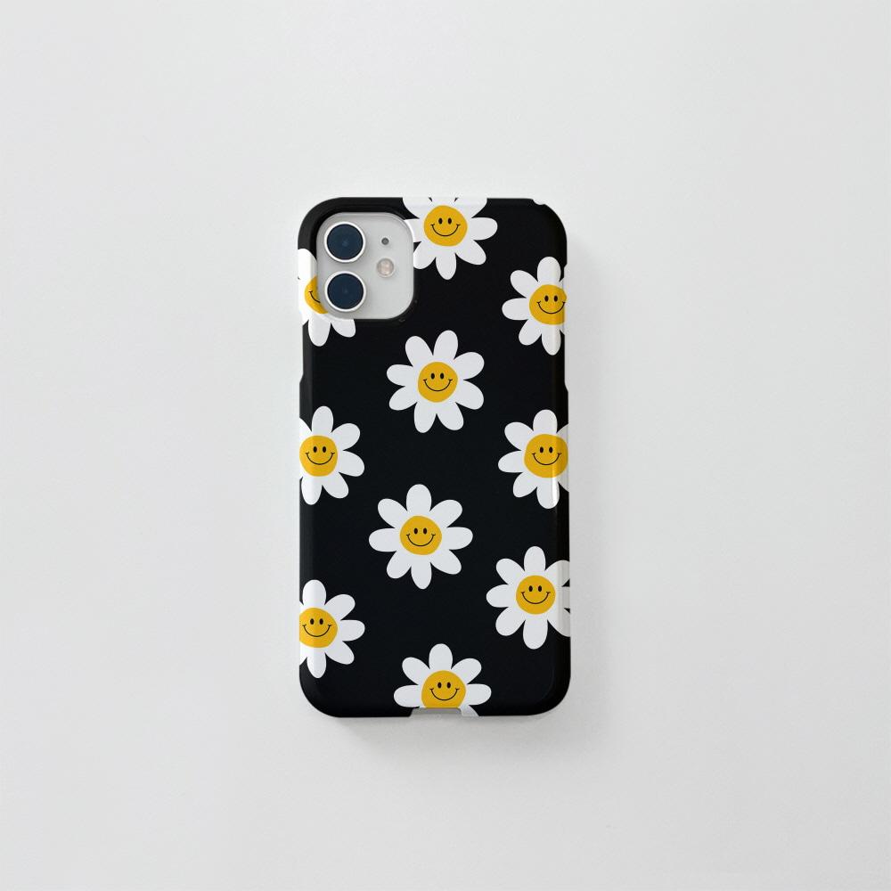 (골드펄) 스마일 꽃 패턴 블랙