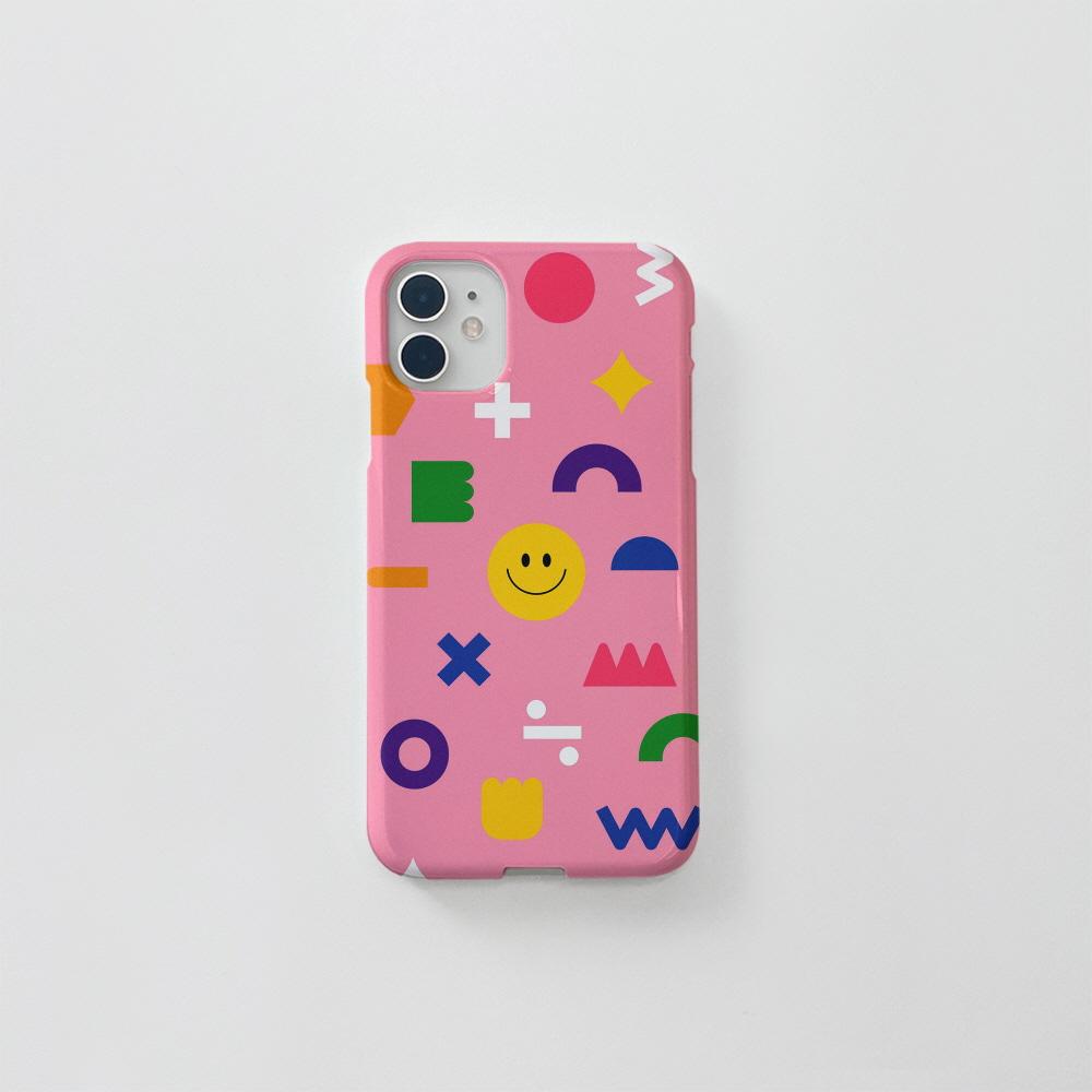 (골드펄) 스마일 도형 패턴 핑크