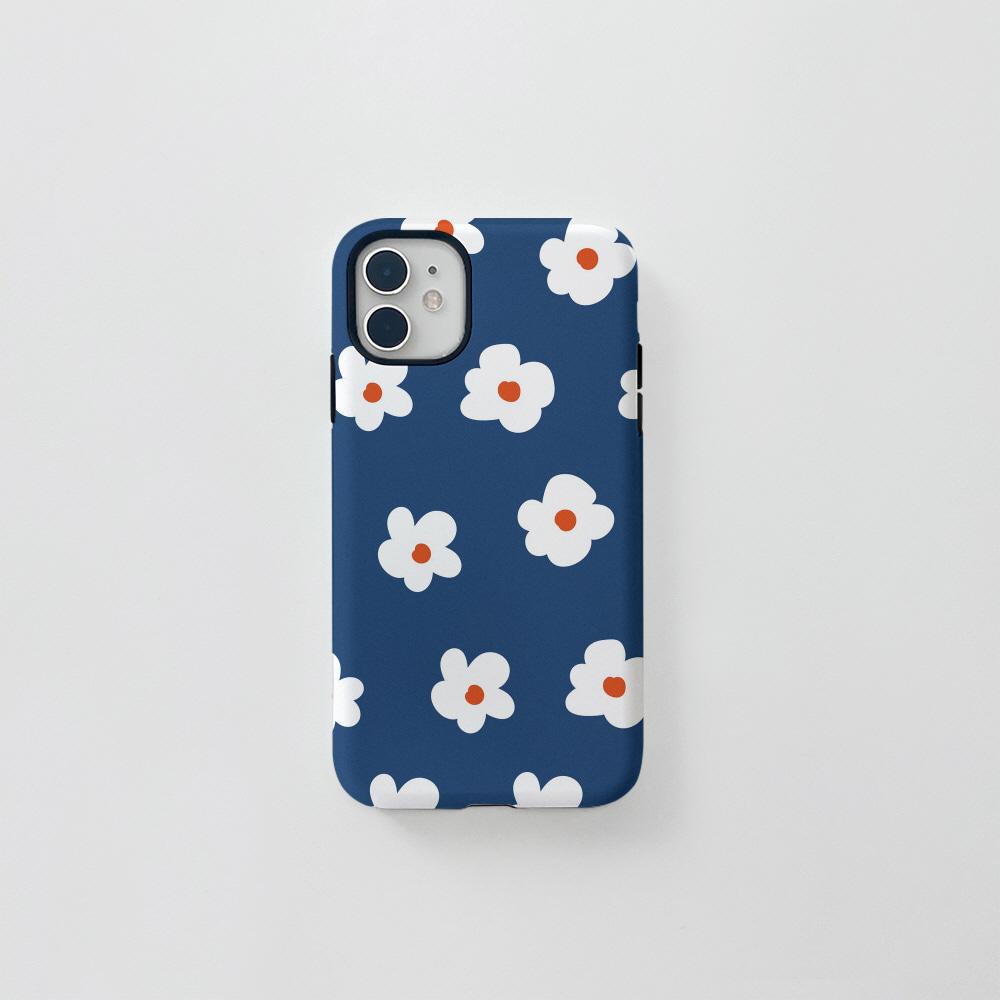 (터프) 동글 꽃 패턴 네이비