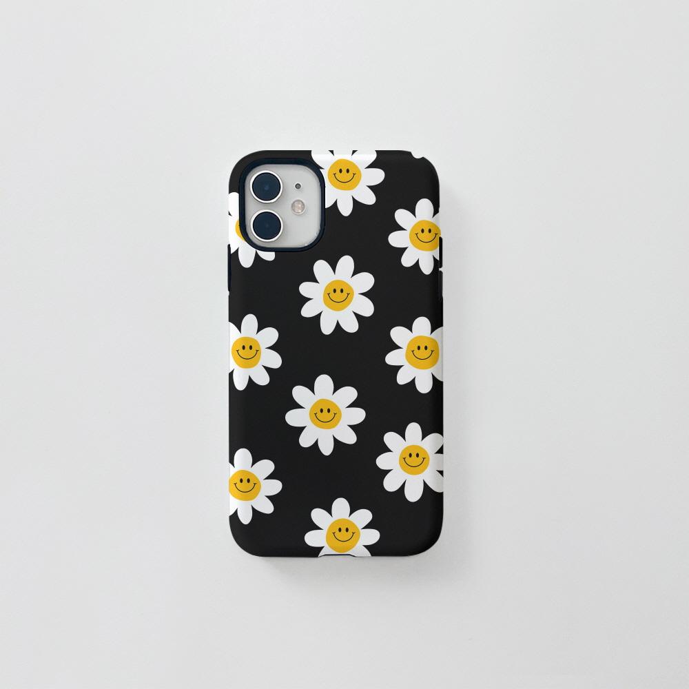 (터프) 스마일 꽃 패턴 블랙