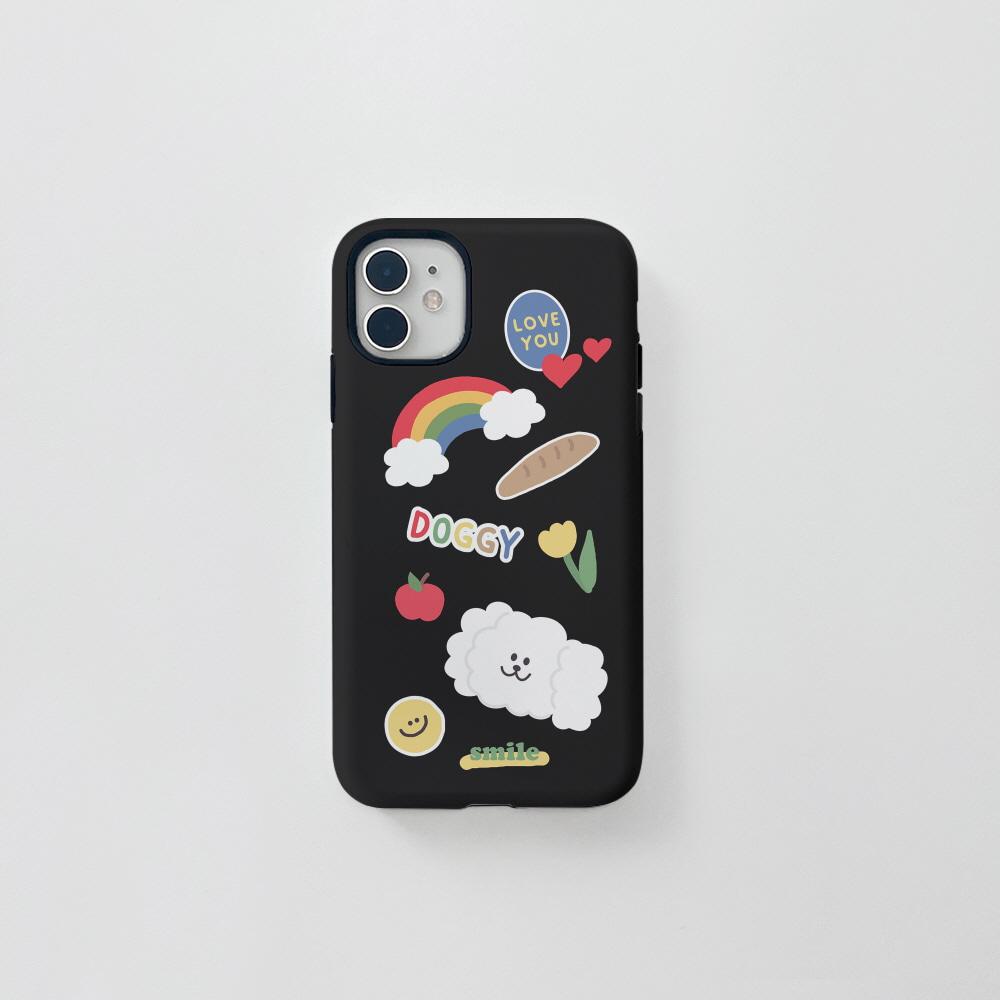 (터프) 더기 스티커 블랙 . 아이폰 11 12 13 미니 프로 맥스 XS 갤럭시 노트10 20 울트라 S20 S21 핸드폰케이스 카드 커플 아이폰케이스 갤럭시케이스