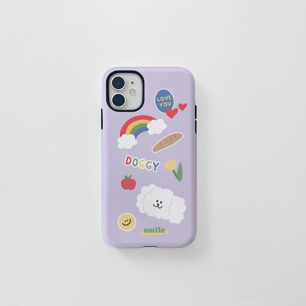 (터프) 더기 스티커 연퍼플 . 아이폰 11 12 13 미니 프로 맥스 XS 갤럭시 노트10 20 울트라 S20 S21 핸드폰케이스 카드 커플 아이폰케이스 갤럭시케이스